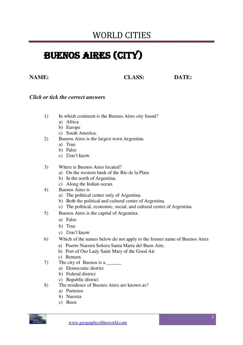 Buenos Aires city worksheet-page-image