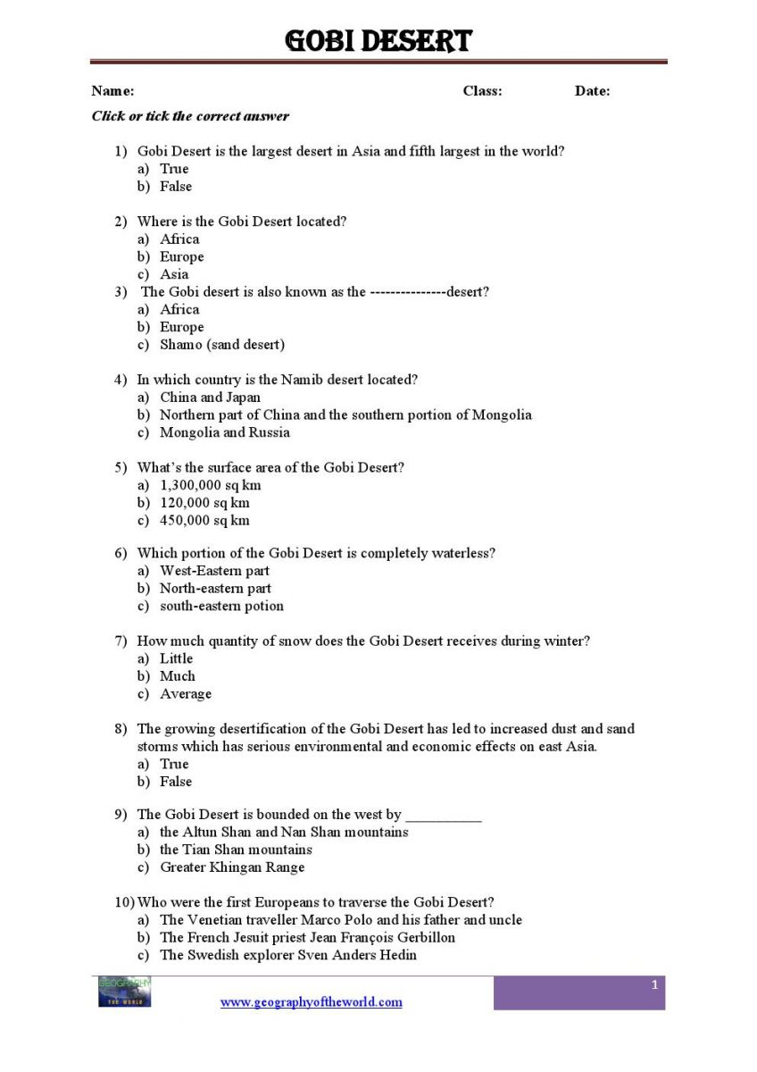Gobi desert teachers printable worksheets