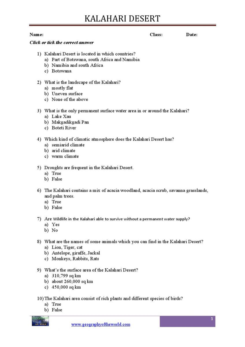 Kalahari desert teachers printable worksheet0001