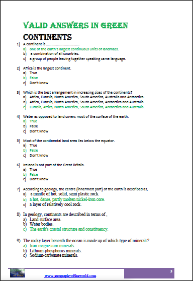 continents worksheets image