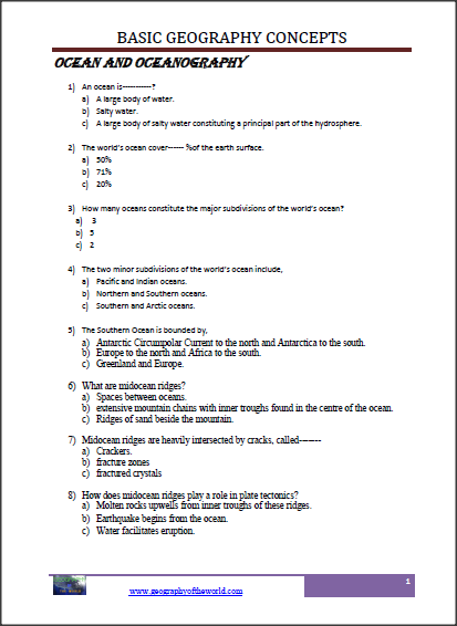 ocean and oceanography worksheet  image