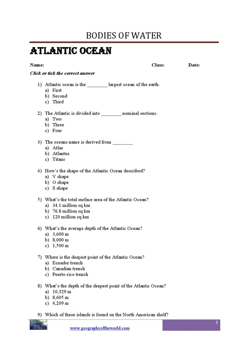 Bodies of Water Questions and Answers Geography printable Worksheets pdf