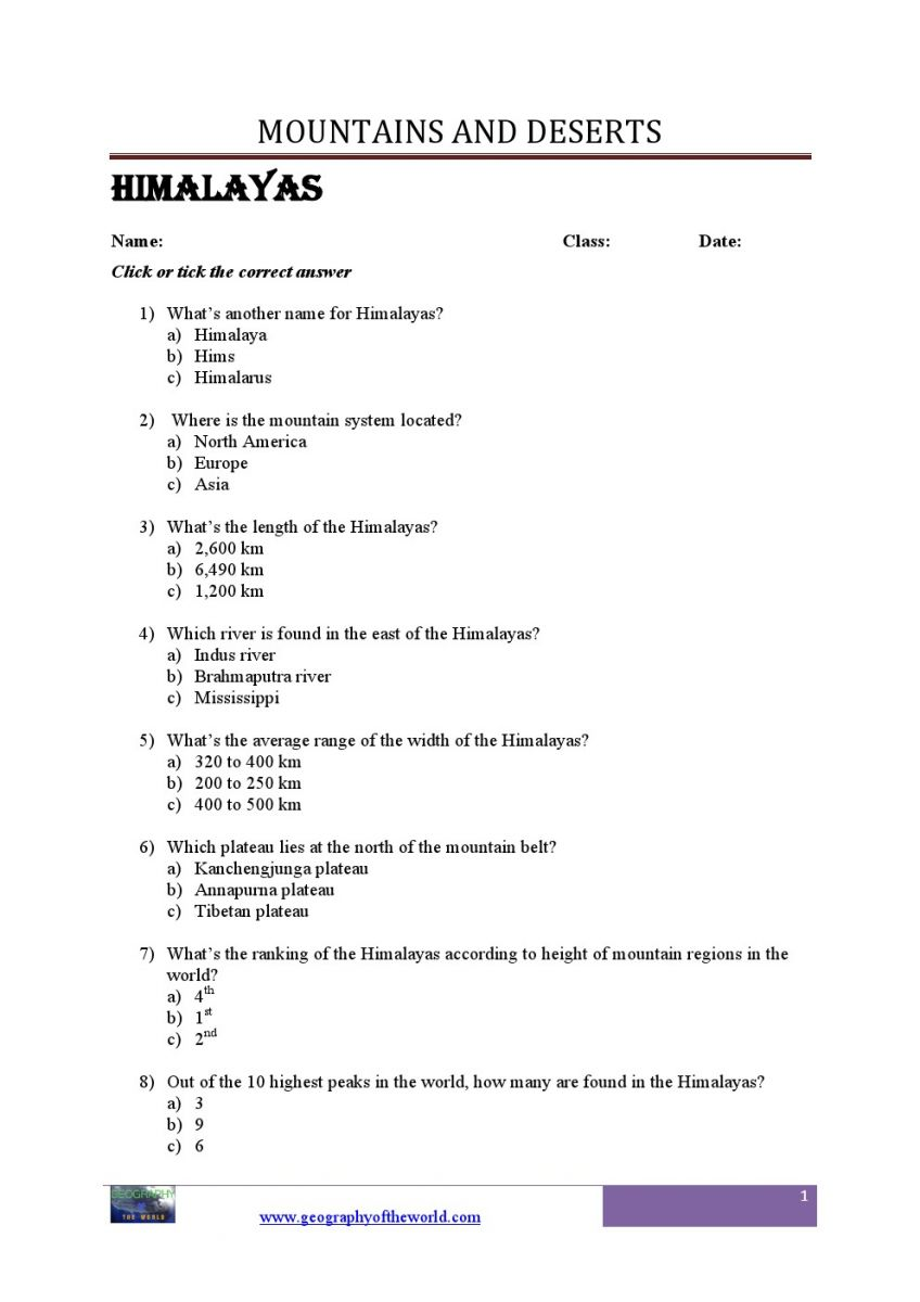 World mountains geograhy worksheets  for students